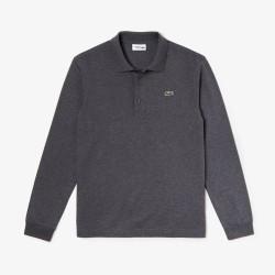 Polo à manches longues Lacoste SPORT gris chiné en coton ultra léger