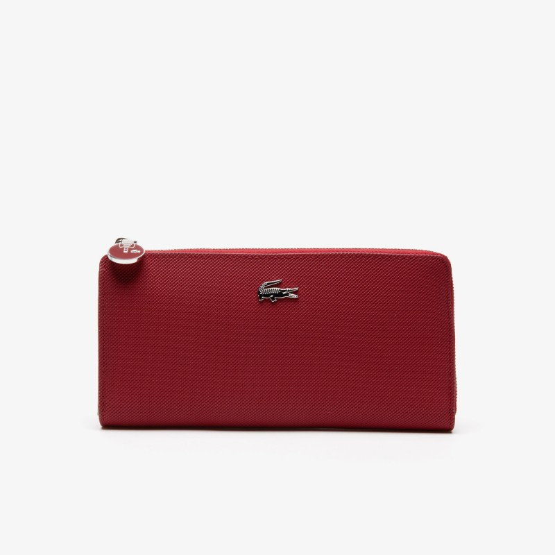 Portefeuille Lacoste rouge Daily Classic en toile enduite piquée 10 cartes