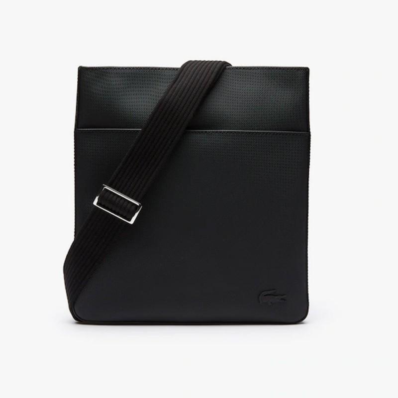 Sacoche Lacoste noir plate Men's Classic en petit piqué uni