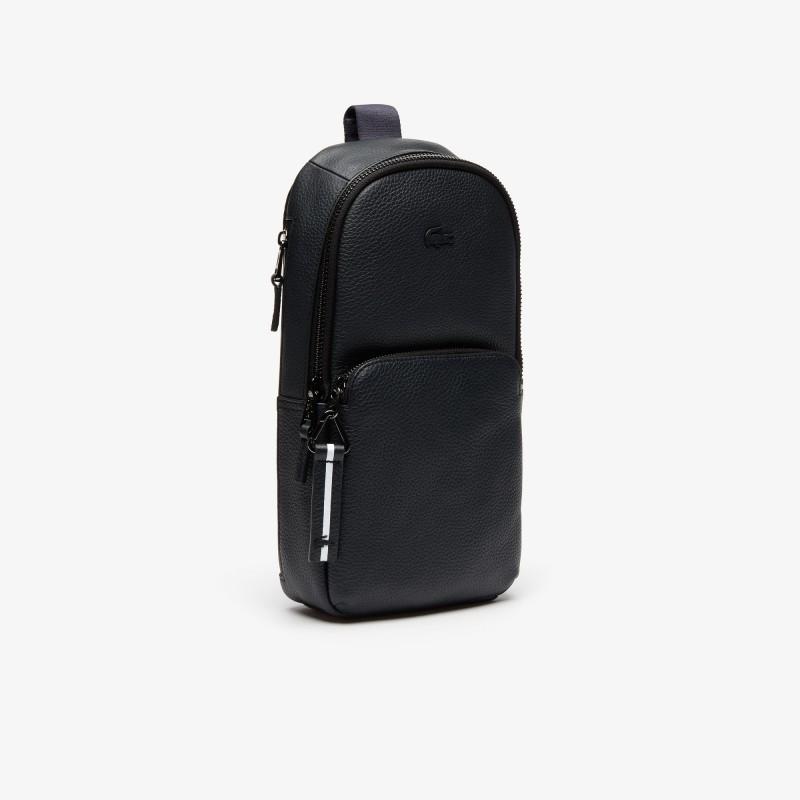 Sacoche Lacoste noir bandoulière zippée Altitude en cuir grainé