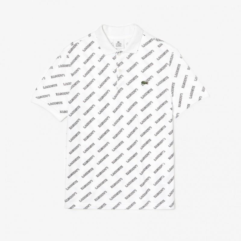 Polo slim fit Lacoste LIVE blanc imprimé signature