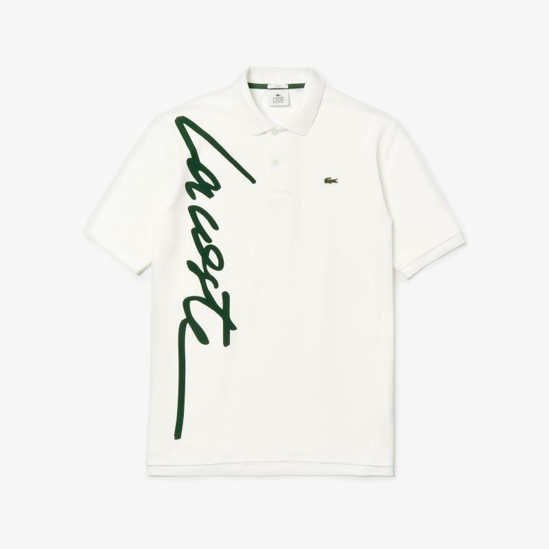 Polo loose fit unisexe Lacoste LIVE blanc signature