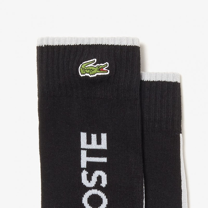 Chaussettes Lacoste SPORT noires avec rayures contrastées et marquage