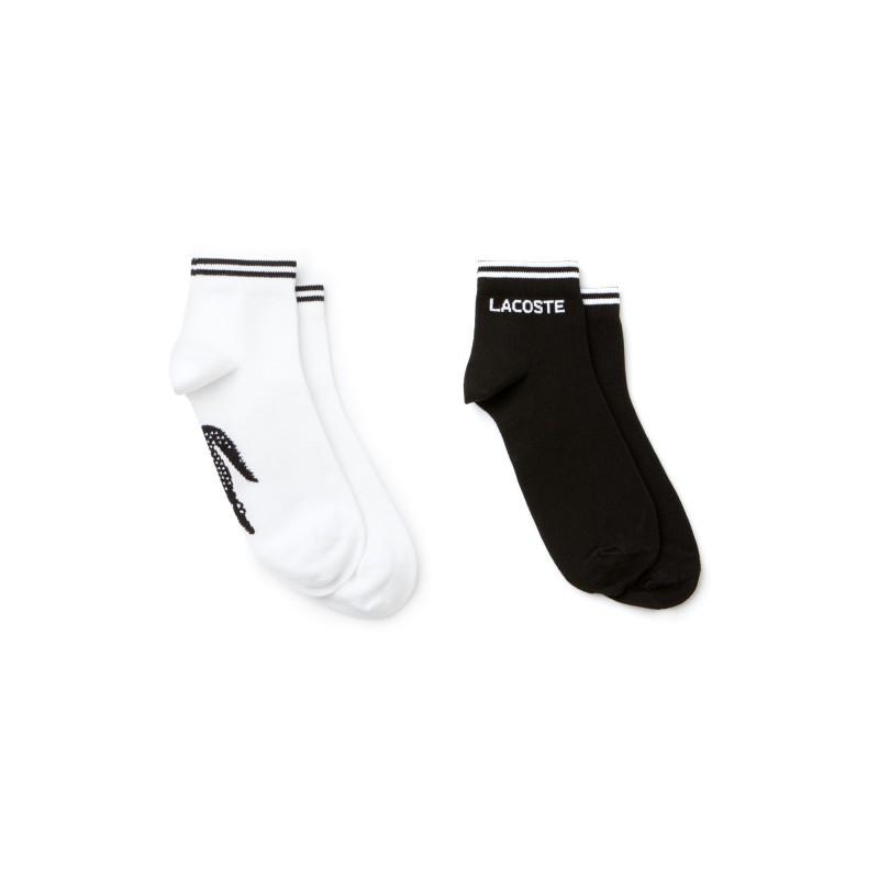 Lot de 2 paires de chaussettes Lacoste noires et blanches SPORT en jersey