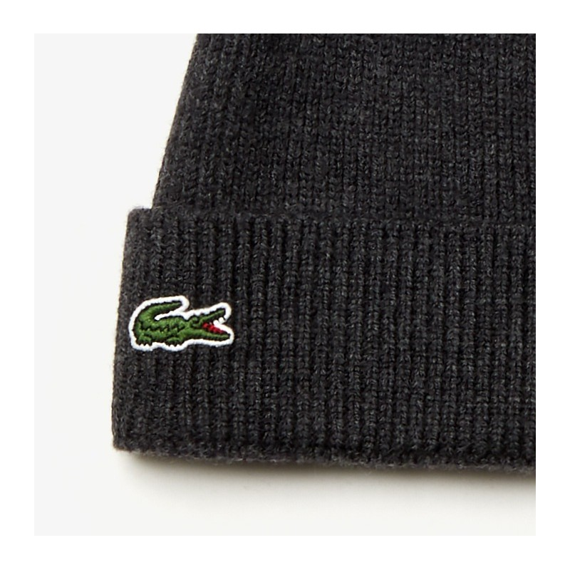 Bonnet Lacoste gris à revers en laine côtelée unie
