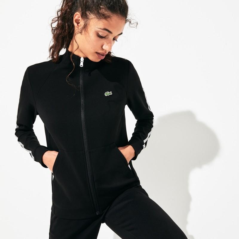 Sweatshirt zippé Tennis Lacoste SPORT noir avec bandes signature