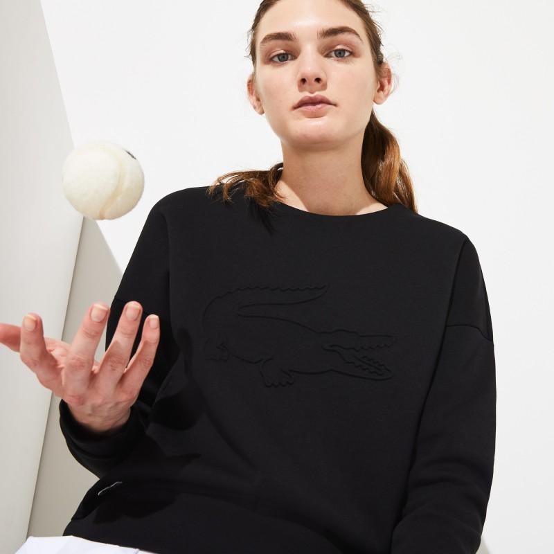 Sweatshirt Tennis Lacoste SPORT noit en molleton avec maxi croco