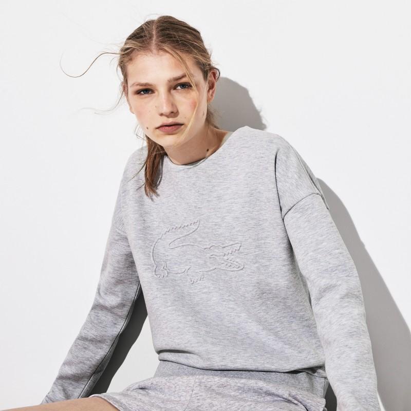 Sweatshirt Tennis Lacoste SPORT gris en molleton avec maxi croco 3D