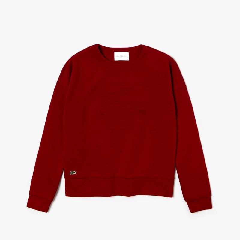 Sweatshirt Tennis Lacoste SPORT bordeaux en molleton avec maxi croco