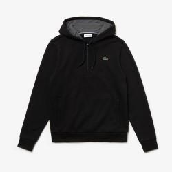 Sweatshirt col zippé à capuche Tennis Lacoste SPORT noir en molleton uni