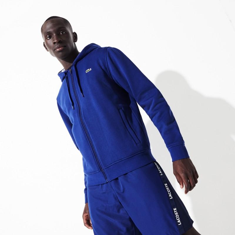 Sweatshirt zippé à capuche Tennis Lacoste SPORT bleu en molleton uni