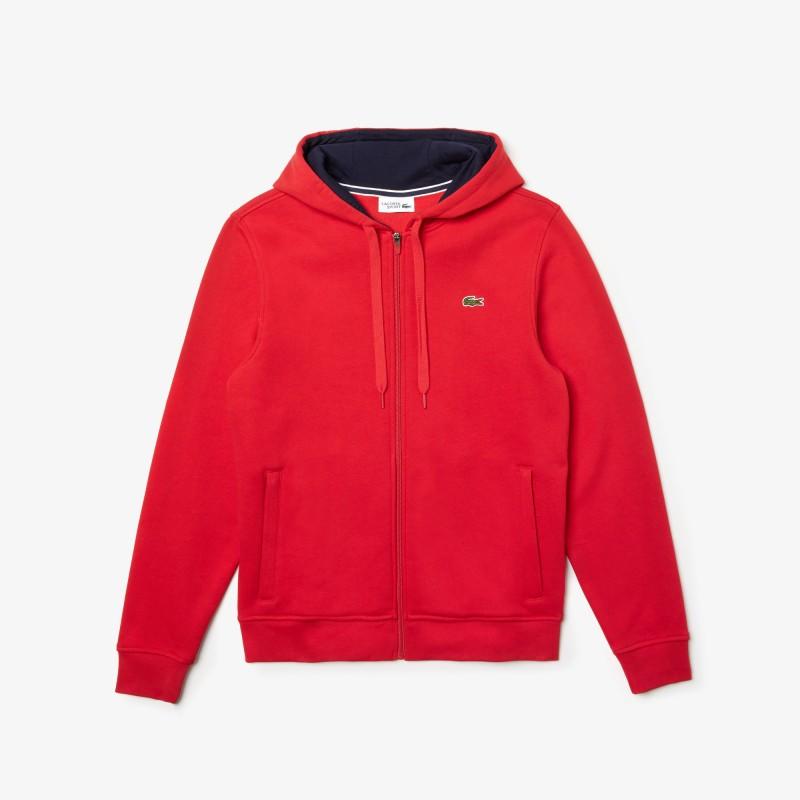 Sweatshirt zippé à capuche Tennis Lacoste SPORT rouge en molleton uni