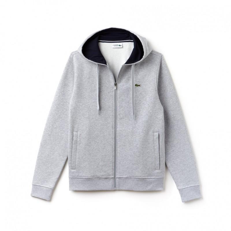 Sweatshirt zippé à capuche Tennis Lacoste SPORT gris en molleton uni