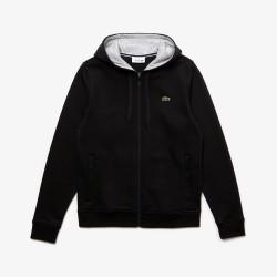 Sweatshirt zippé à capuche Tennis Lacoste SPORT noir en molleton uni