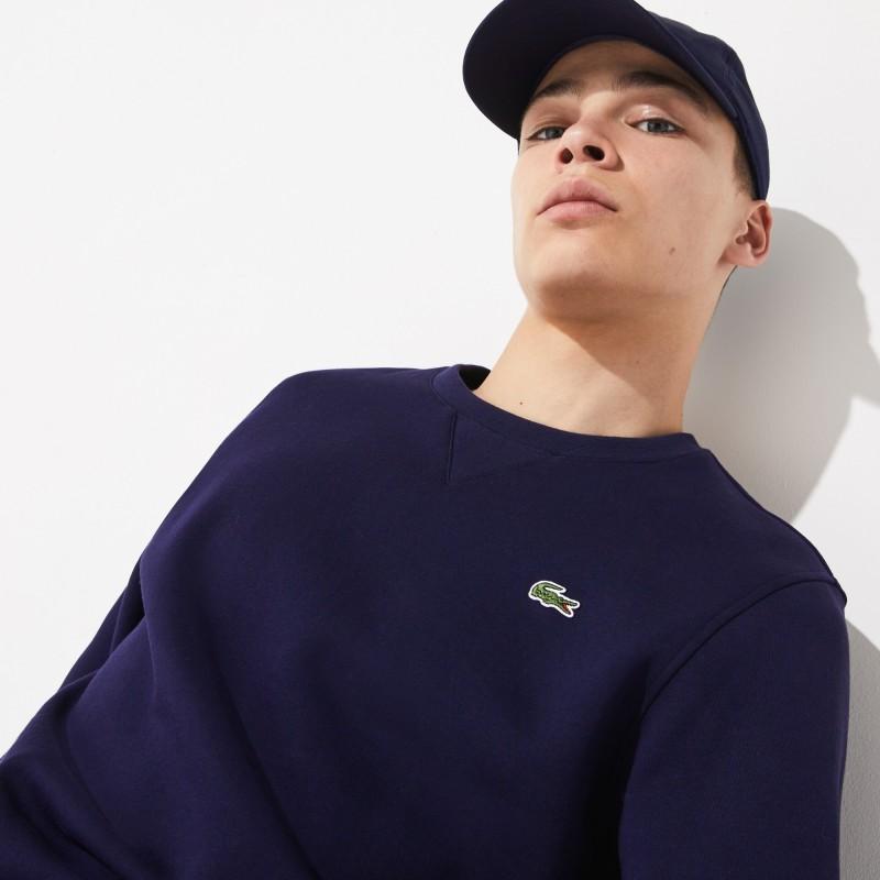 Sweatshirt col rond Lacoste SPORT bleu en molleton uni