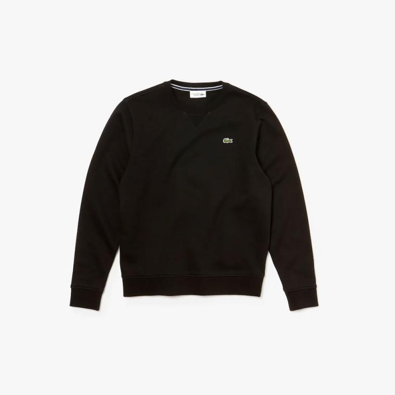 Sweatshirt col rond Lacoste SPORT noir en molleton uni