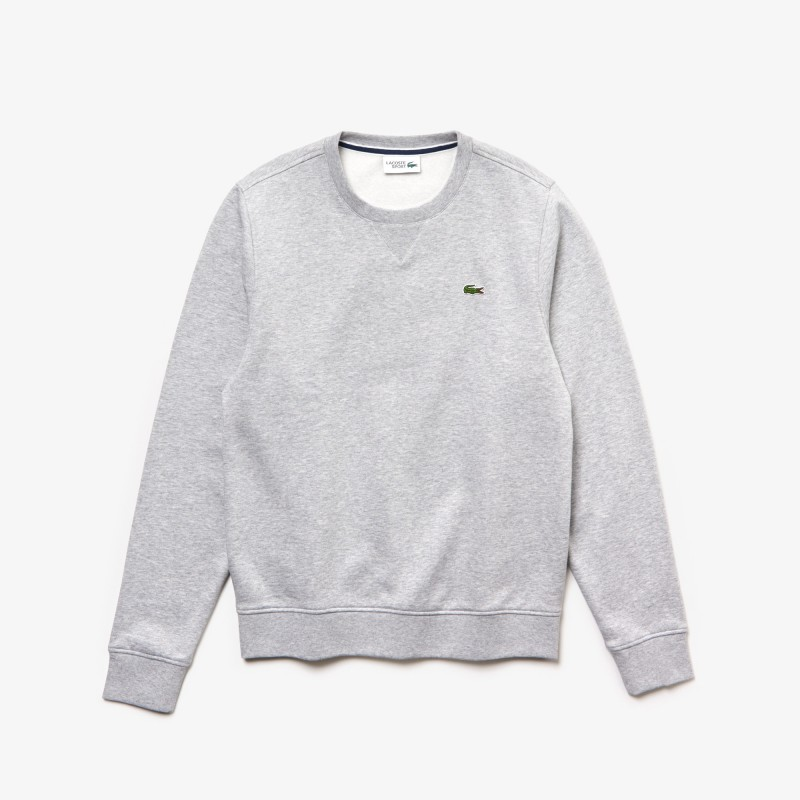 Sweatshirt col rond Lacoste SPORT gris en molleton uni