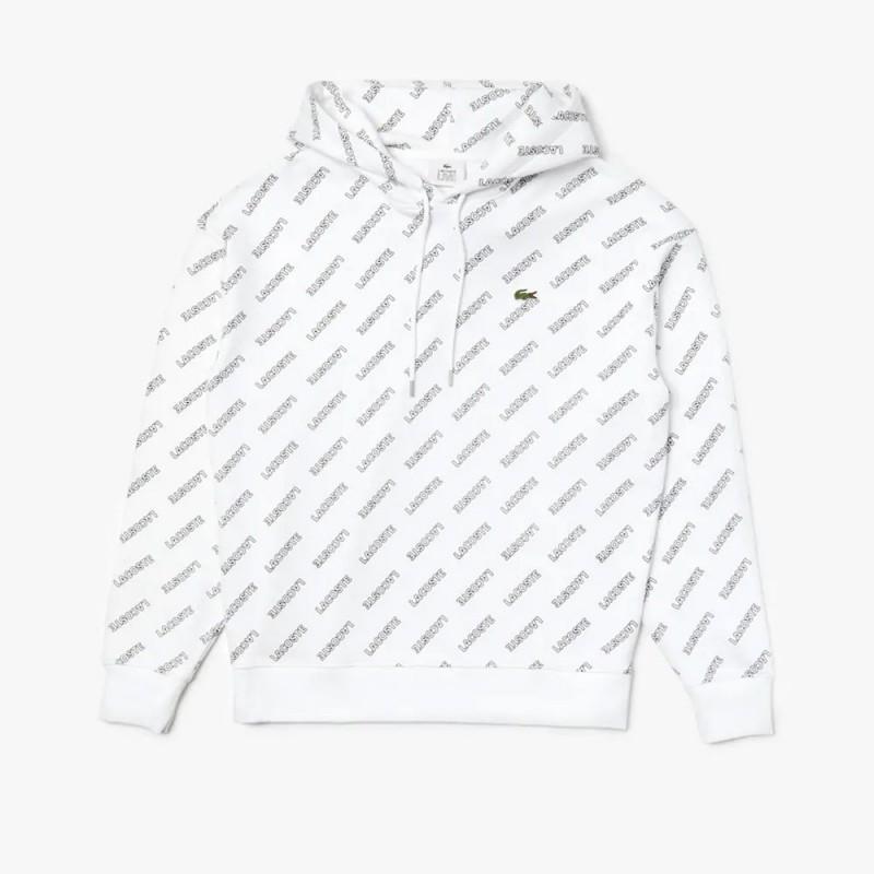 Sweatshirt à capuche Lacoste LIVE blanc en molleton imprimé signature