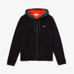 Sweatshirt zippé Lacoste SPORT en molleton à capuche contrastée