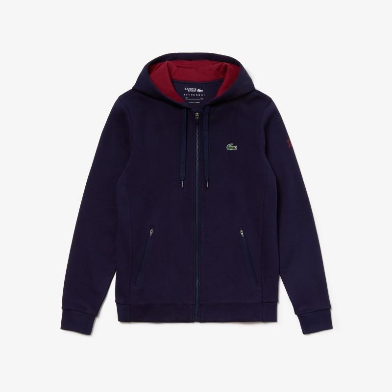 Sweatshirt zippé Lacoste SPORT x Novak Djokovic bleu/bordeaux avec logo croco