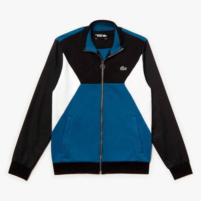 Sweatshirt zippé Tennis Lacoste SPORT bi-matière color-block