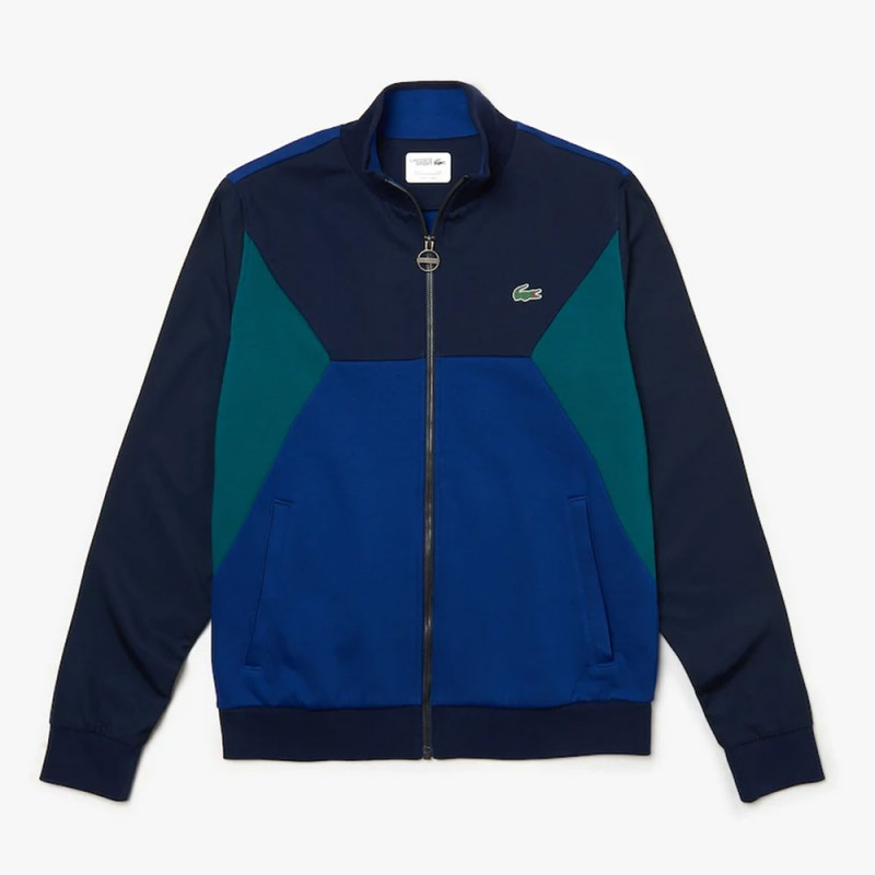Sweatshirt zippé Tennis Lacoste SPORT bleu/vert bi-matière color-block