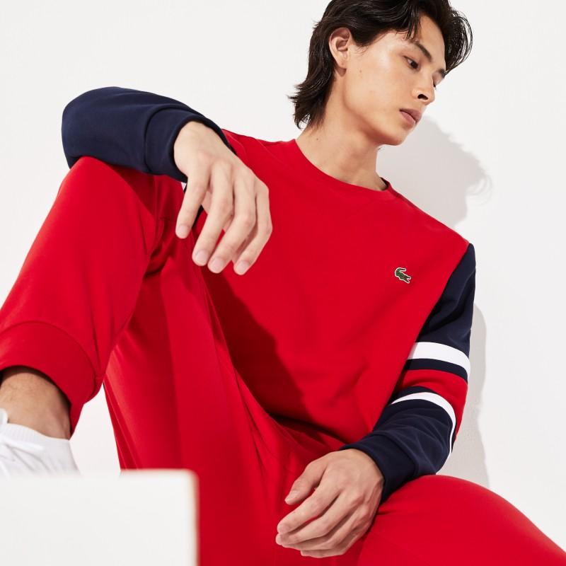 Sweatshirt Lacoste SPORT en molleton à manches rayées