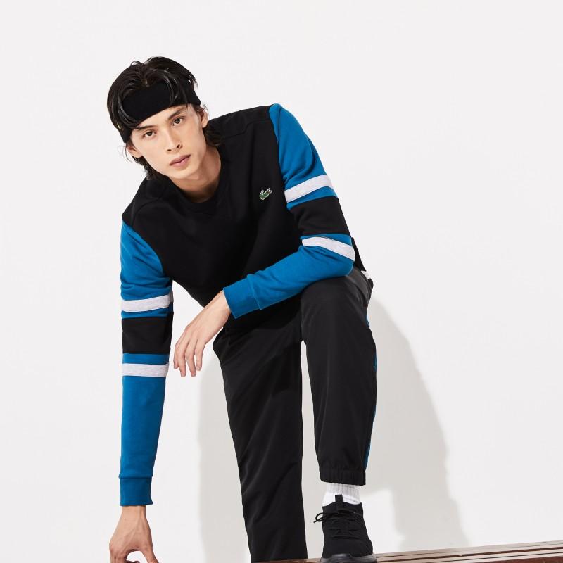 Sweatshirt Lacoste SPORT noir/bleu en molleton à manches rayées