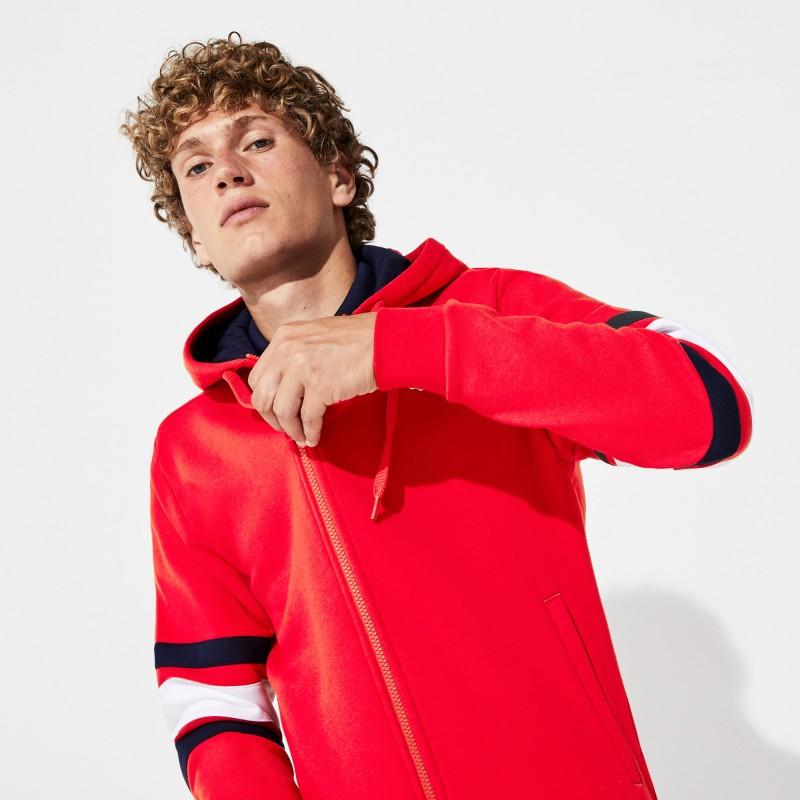 Sweatshirt zippé à capuche Lacoste SPORT rouge à manches rayées
