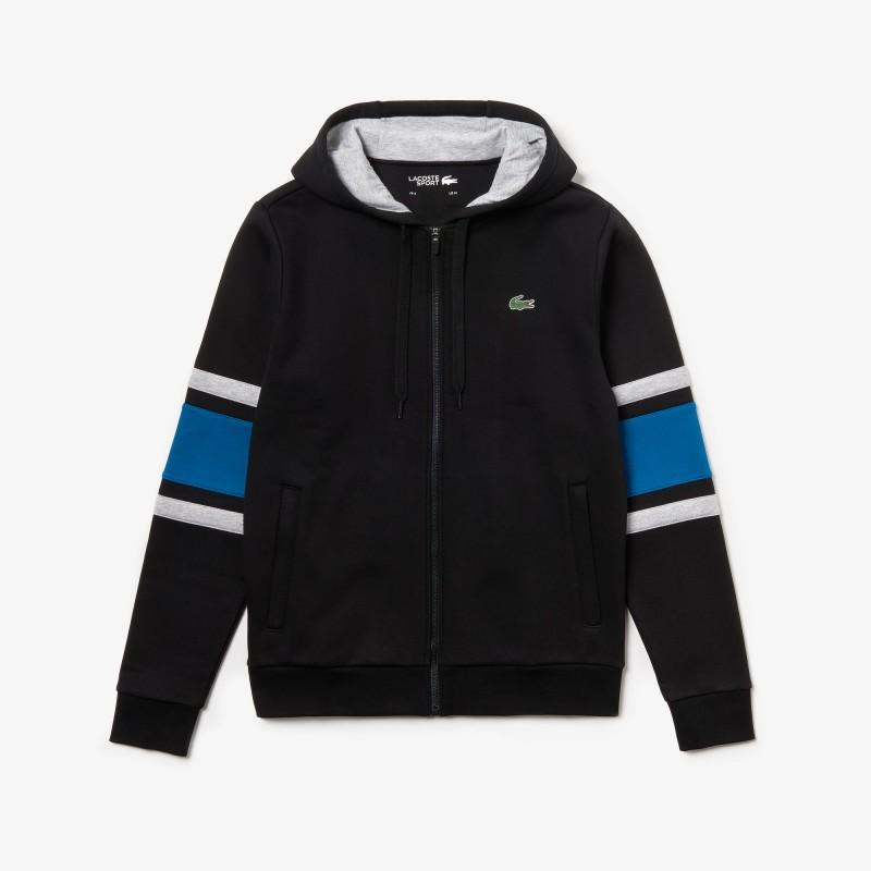 Sweatshirt zippé à capuche Lacoste SPORT à manches rayées