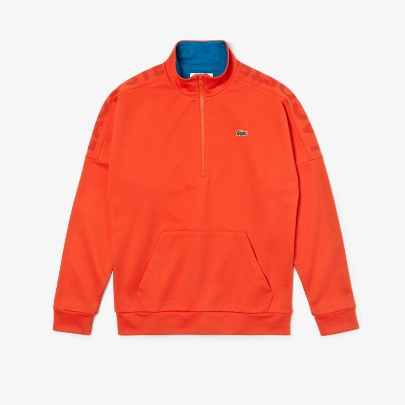 Sweatshirt à col montant zippé Lacoste SPORT orange en coton uni