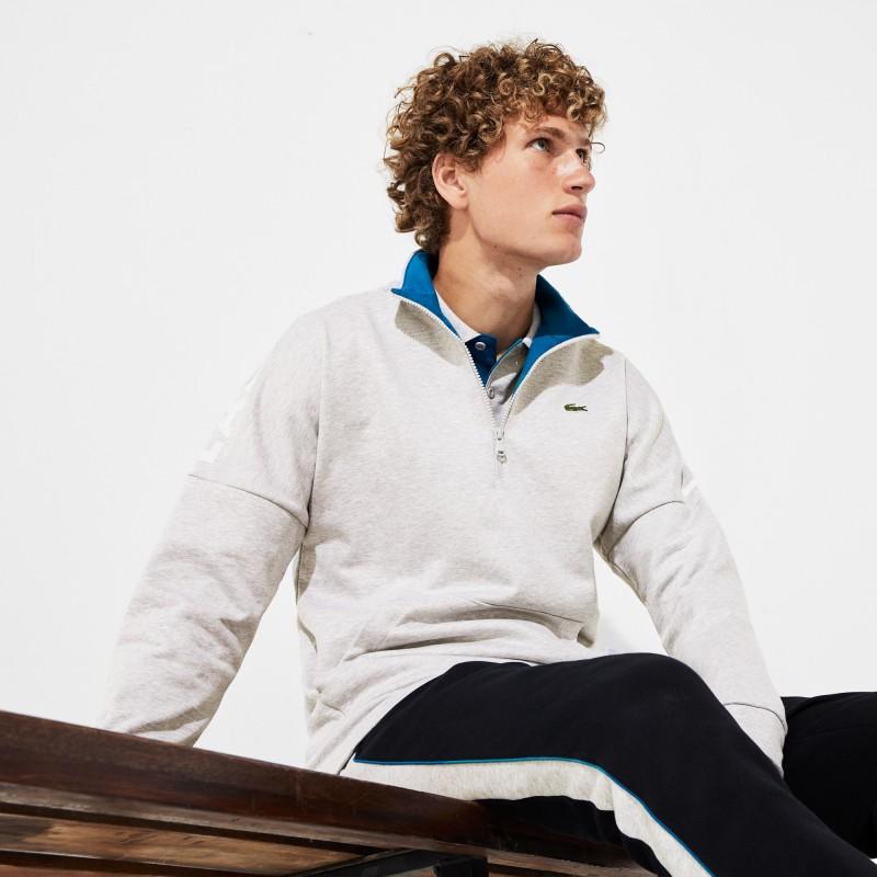 Sweatshirt à col montant zippé Lacoste SPORT gris en coton uni