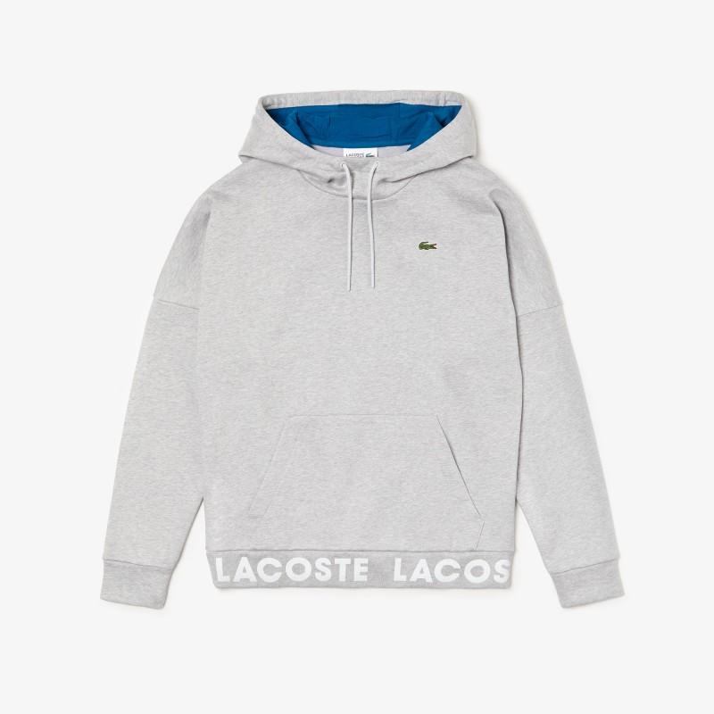 Sweatshirt à capuche Lacoste SPORT en coton avec bord-côte signature