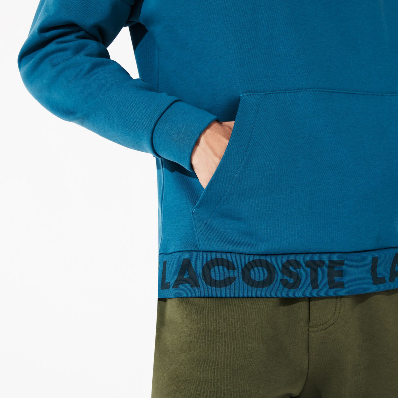 Sweatshirt à capuche Lacoste SPORT bleu en coton avec bord-côte signature