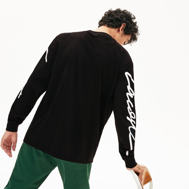 T-shirt unisexe Lacoste LIVE à manches longues imprimées signature