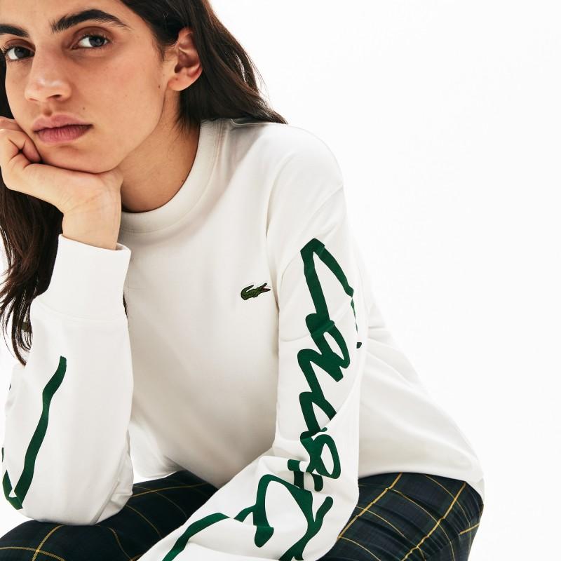 T-shirt unisexe Lacoste LIVE blanc à manches longues imprimées signature