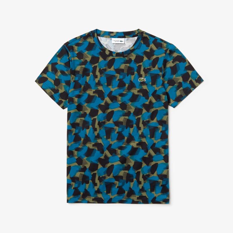 T-shirt Lacoste SPORT noir/bleu/vert en jersey de coton imprimé camouflage