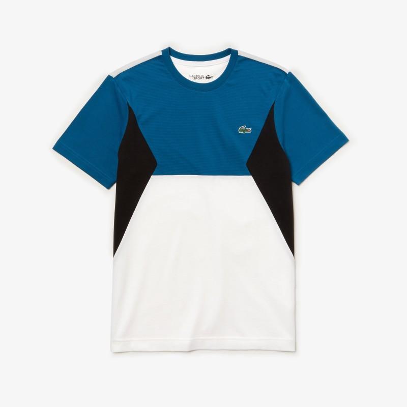 T-shirt Tennis Lacoste SPORT bleu/blanc/noir en coton color-block ultra léger