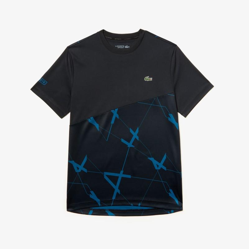 T-shirt Tennis Lacoste SPORT en piqué respirant à motif géométrique