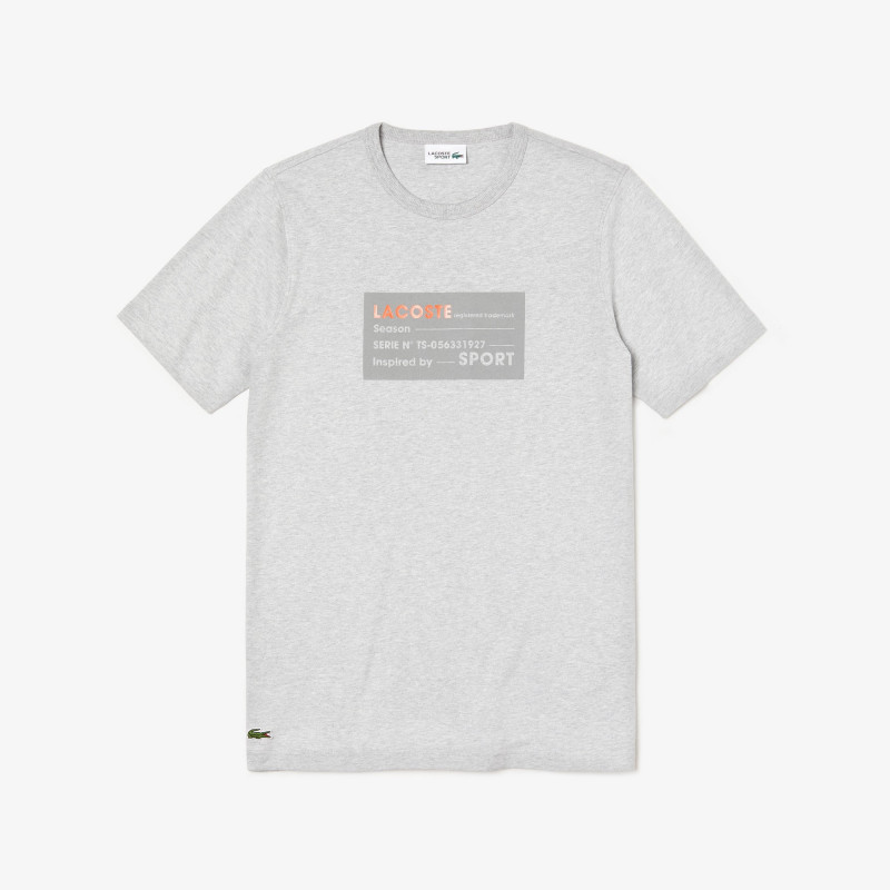 T-shirt Lacoste SPORT gris en coton uni avec imprimé en relief