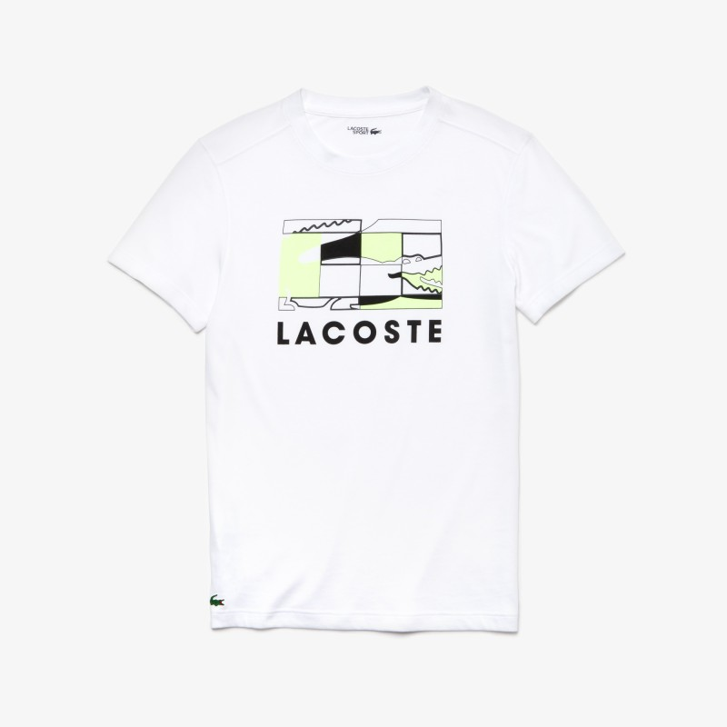 T-shirt Lacoste SPORT blanc respirant avec motif court de tennis