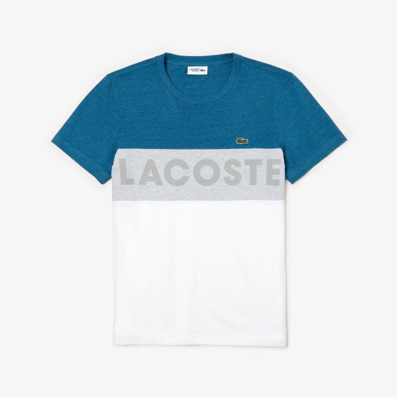 T-shirt Lacoste SPORT bleu/gris/blanc en coton ultra léger color-block avec marquage