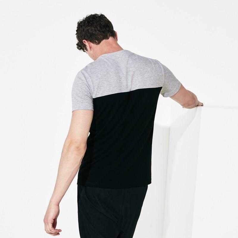 T-shirt Lacoste SPORT gris/blanc/noir en coton ultra léger color-block avec marquage