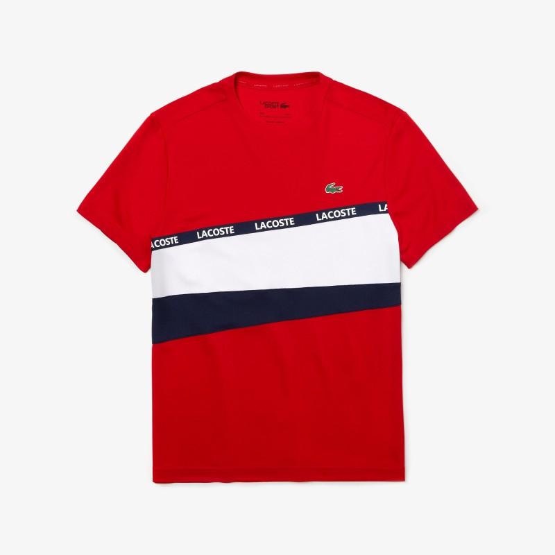T-shirt Lacoste SPORT en piqué color-block avec bande signature