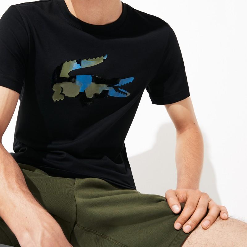 T-shirt Lacoste SPORT bleu en jersey avec crocodile imprimé camouflage