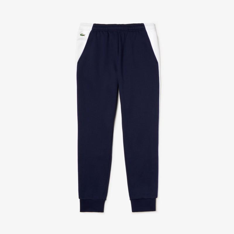 Jogging Lacoste SPORT bleu/blanc en molleton avec bandes
