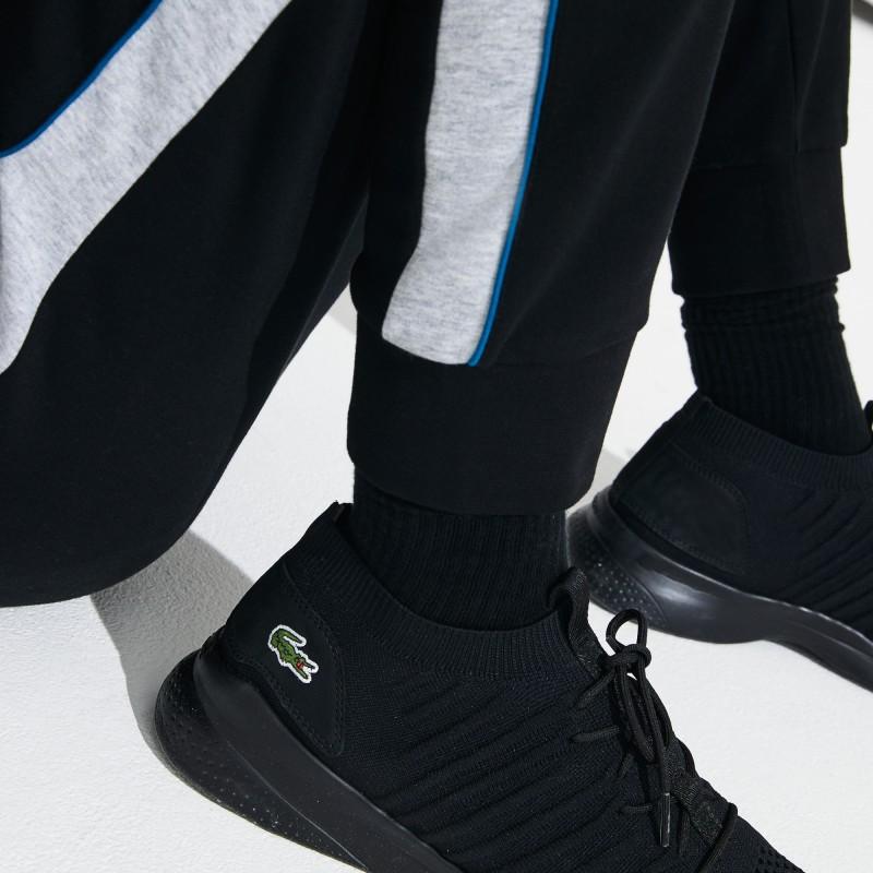 Jogging Lacoste SPORT noir/gris/bleu en molleton avec bandes