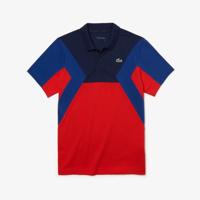 Polo Tennis Lacoste SPORT bleu/rouge en coton ultra léger