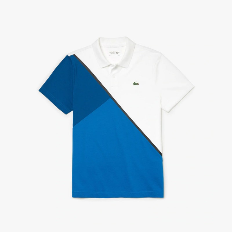 Polo Tennis Lacoste SPORT blanc/bleu en coton ultra léger