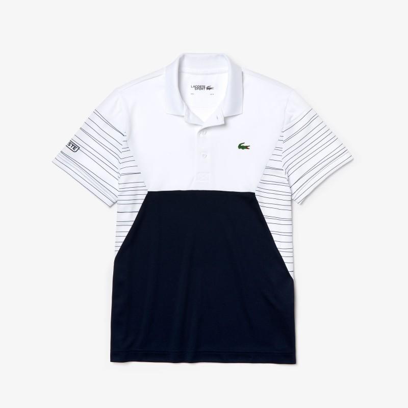 Polo Tennis Lacoste noir/blanc SPORT en piqué respirant